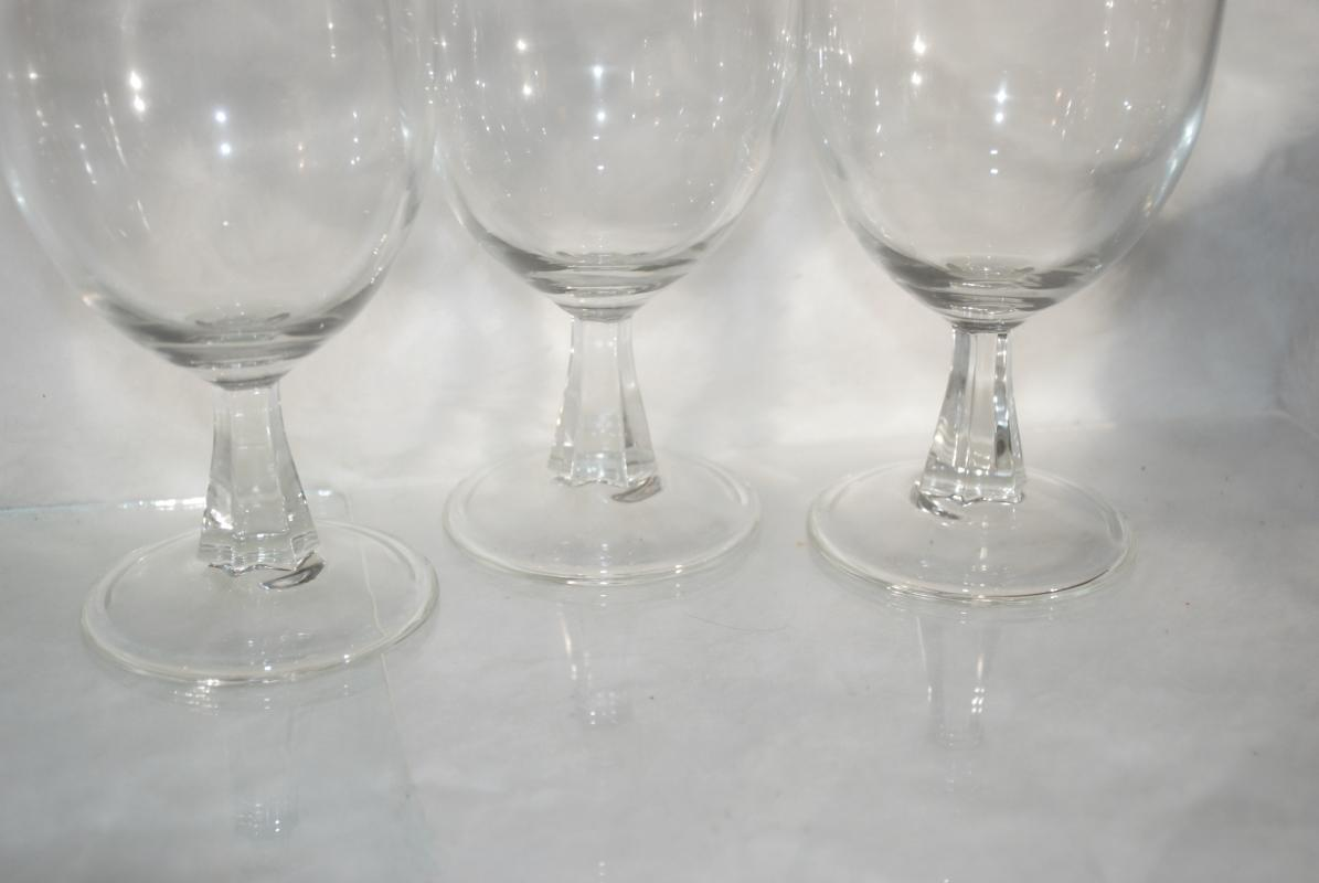 3 Footed Pilsner Beer Glasses with Paneled Stems