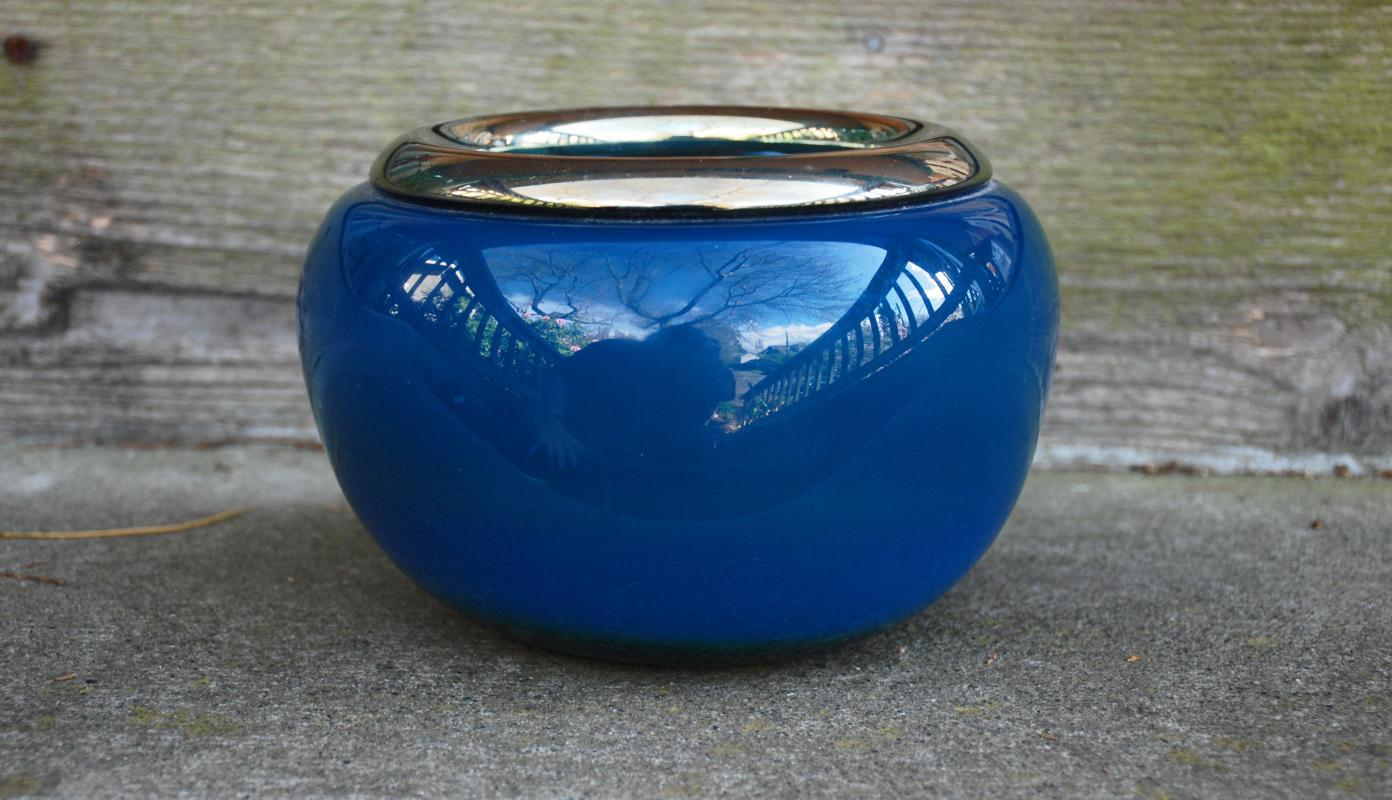 Fine Blown Art Glass Bowl , Signed and Dated, Blue with Gold Rim