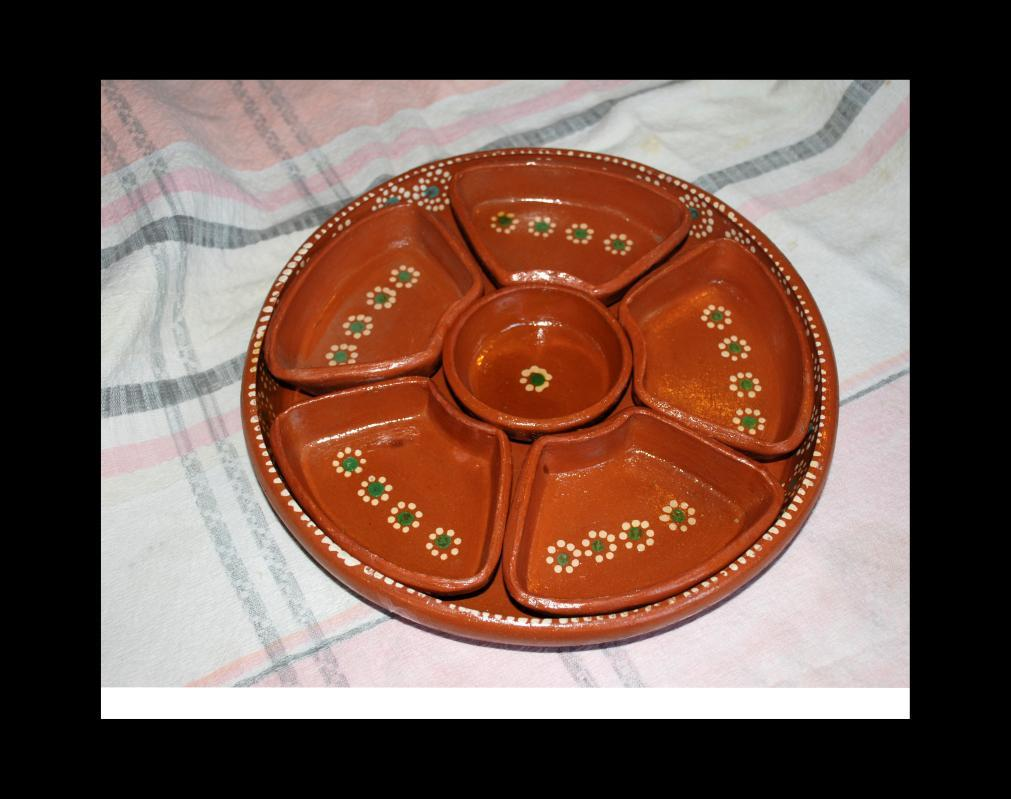 Vintage  MEXICAN  Tlaquepaque POTTERY RED-WARE 7PC SALSA  CHIP DIP BOWL TRAY SET