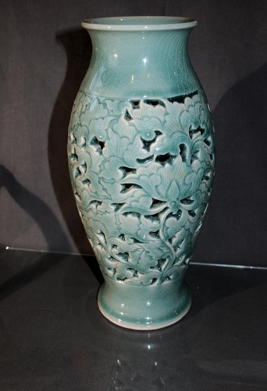 Celadon Pierced Siam Vase - Thailand  Botanical design Heavy Porcelain