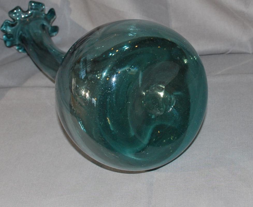 Mid- Century Dark Teal Blown Glass Curved Neck Vase , Blenko, Art Glass