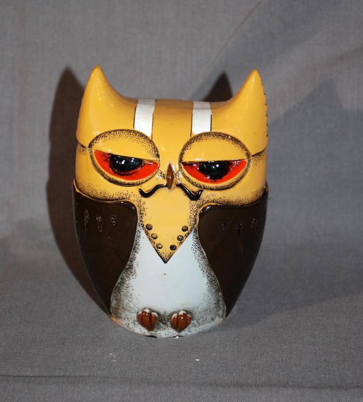 Mid-Century Composition Owl Coin Bank Sleepy Eyes