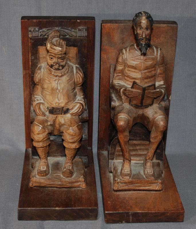 Pair of Carved Bookends Don Quixote, the nobleman from La Mancha with his servant Sancho Panza in a beautiful wood carving, made in Spain.