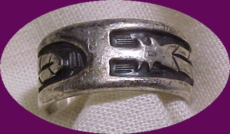 Sterling Hopi Indian Handcrafted Feather Ring -marked