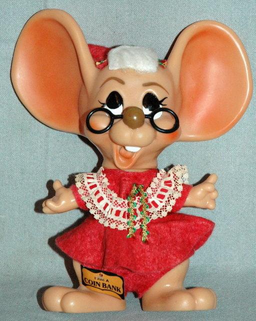 1970 Roy Des Big Ear Mrs.Santa Claus Mouse Bank  PRICE REDUCTION!**