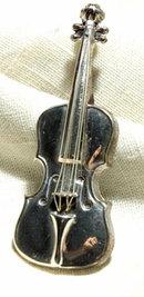 Lang Sterling Silver Violin Pin Brooch