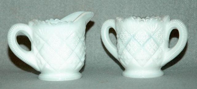 Opalescent Milk Glass Creamer and Sugar Bowl