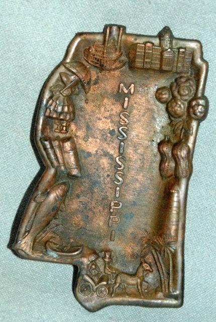 Old Copper Mississippi State Souvenir Trinket Tray