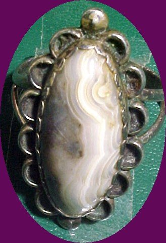 Old Southwest Signed Sterling Silver & Agate