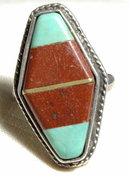 Large Handcraft Silver Turquoise  & Stone Ring
