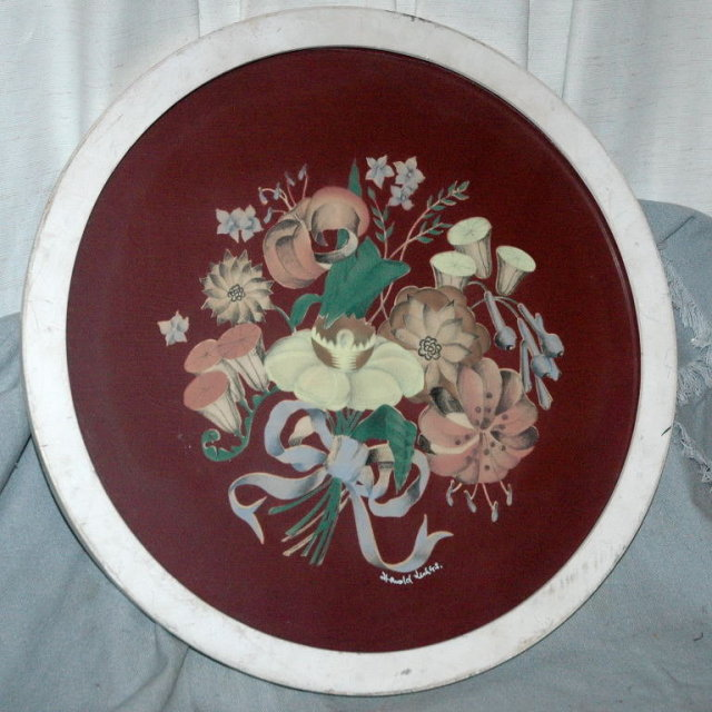 Floral Oil Painting in Round Frame