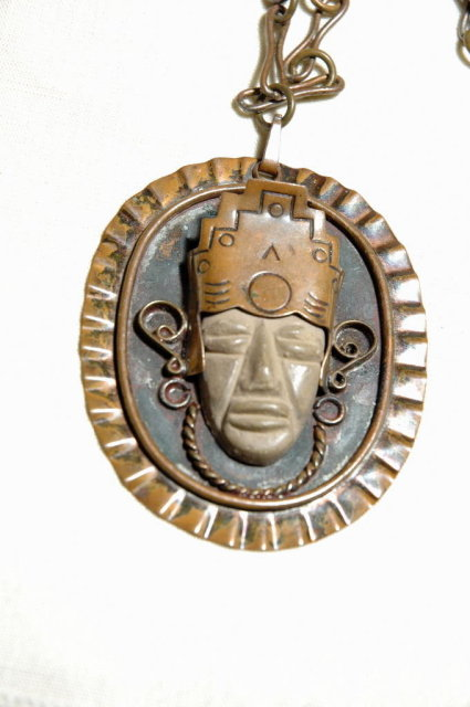 Old Mexican Stone Mask Copper Medallion on Chain
