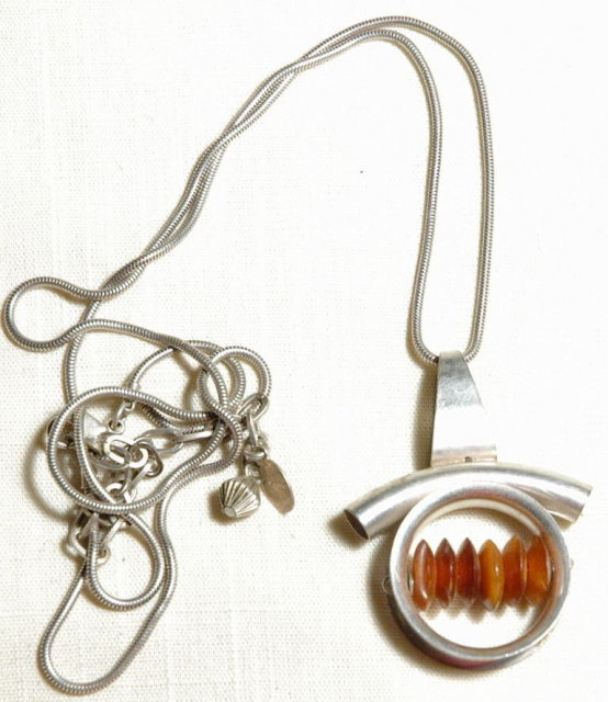 Baer S.F.  Mondernist Silver Pendant with Horn Beads