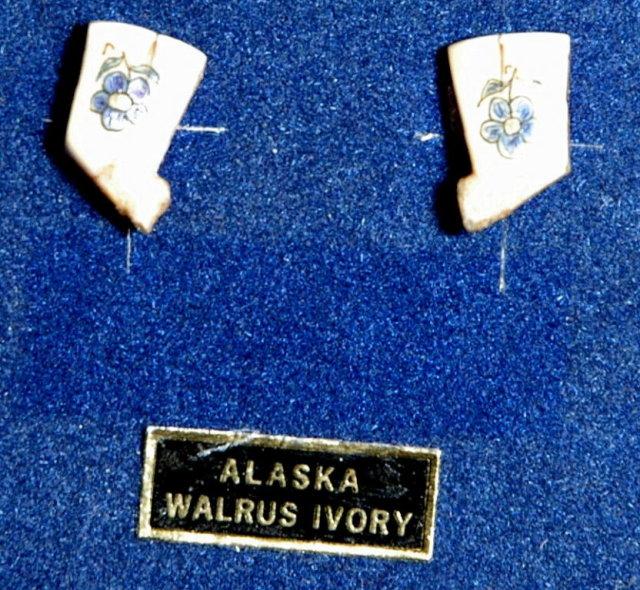 Alaska Native Walrus Ivory Scrimshaw Post Earrings