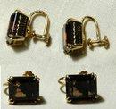 18K Gold &  Smokey Quartz  Earrings