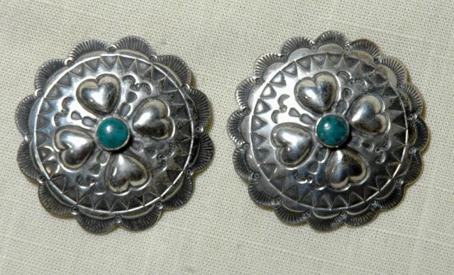 NATIVE AMERICAN  Silver  Heart Sun Earrings