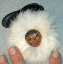 Alaska Eskimo Souvenir Face Pin with real fur