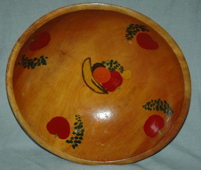 Turned Wooden  Bowl  Hand Crafted and Painted