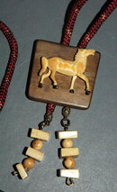 Carved & Painted Fosilized Walrus Ivory Horse on Wood bolo Tie
