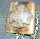 Indian Head Stone  Carving on Fosilized Ivoy Bolo Tie