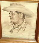 Sepia Tone Pastel Painting or  Sketch Cowboy Portrait  by Federico