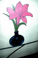 Original Painting Single Magenta Lily in Vase Framed Original  Painting Yasmin  * PRICE REDUCTION!*