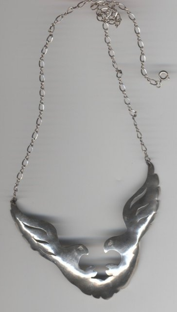 Handcrafted Sterling Silver Dual Eagle Necklace