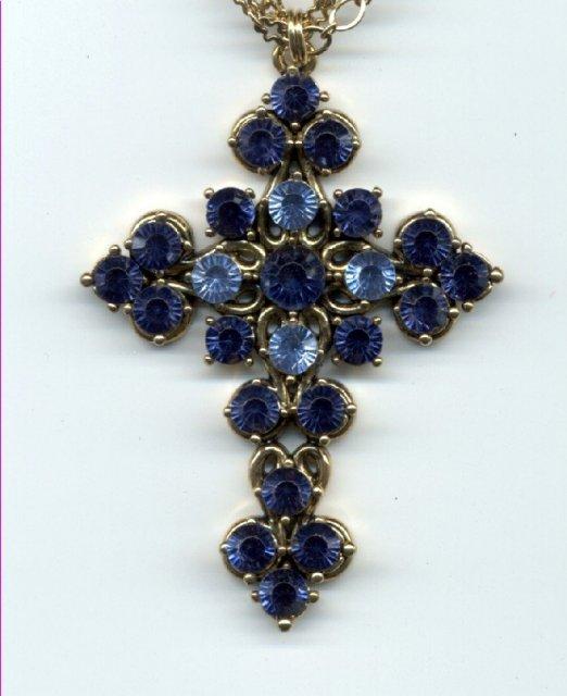 Large Blue Botone'e Crucifix Cross encrusted   **PRICE REDUCTION! ***