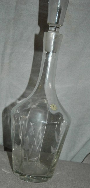 Lovely Tall Etched Glass Decanter with Stopper * PRICE REDUCED *!!