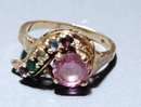 Pink Sapphire with 5 other Gems in 10K gold