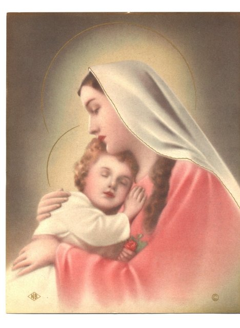 Old  Lithograph of the Virgin Mary & Baby Jesus  * PRICE REDUCED *