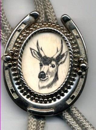 Elk Scrimshaw Bolo Tie