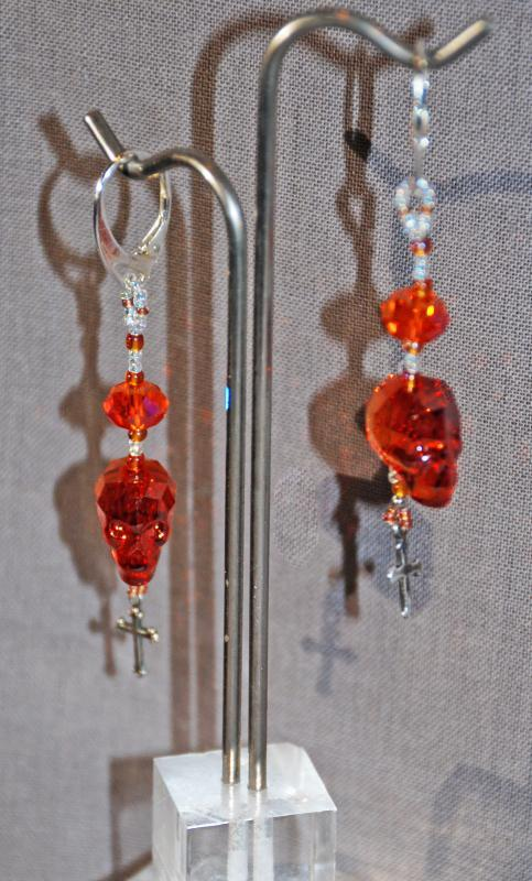 """Sterling Silver Skull & Gothic Cross earrings  """"Red Magma""""  Swarovski Crystal Dangles, One of a Kind, Hand Crafted"""