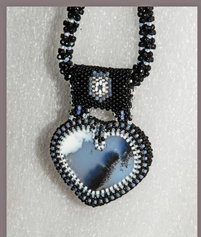Reversible Dendritic Agate Heart with Beaded Bezel  & Rope & Silver chain . Statement Necklace