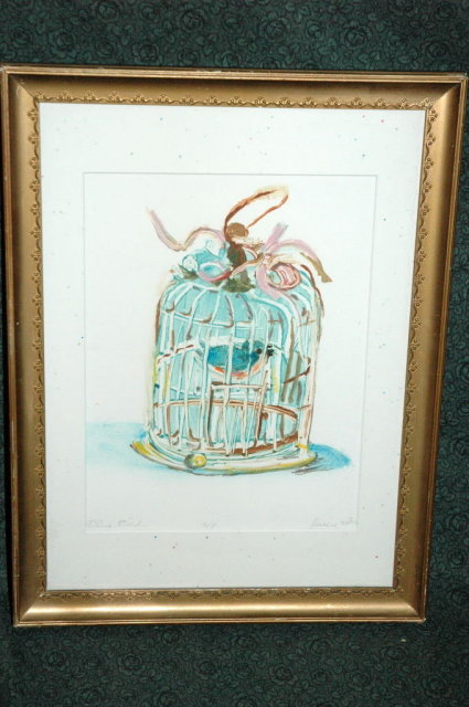 Blue Bird Watercolor by Flossie Rehr  **PRICE REDUCTION **