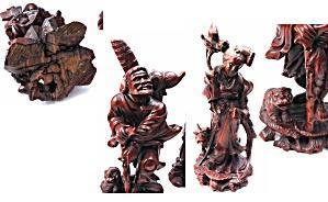 4 Hand Carved Rosewood  Chinese Immortals with Foo Dogs