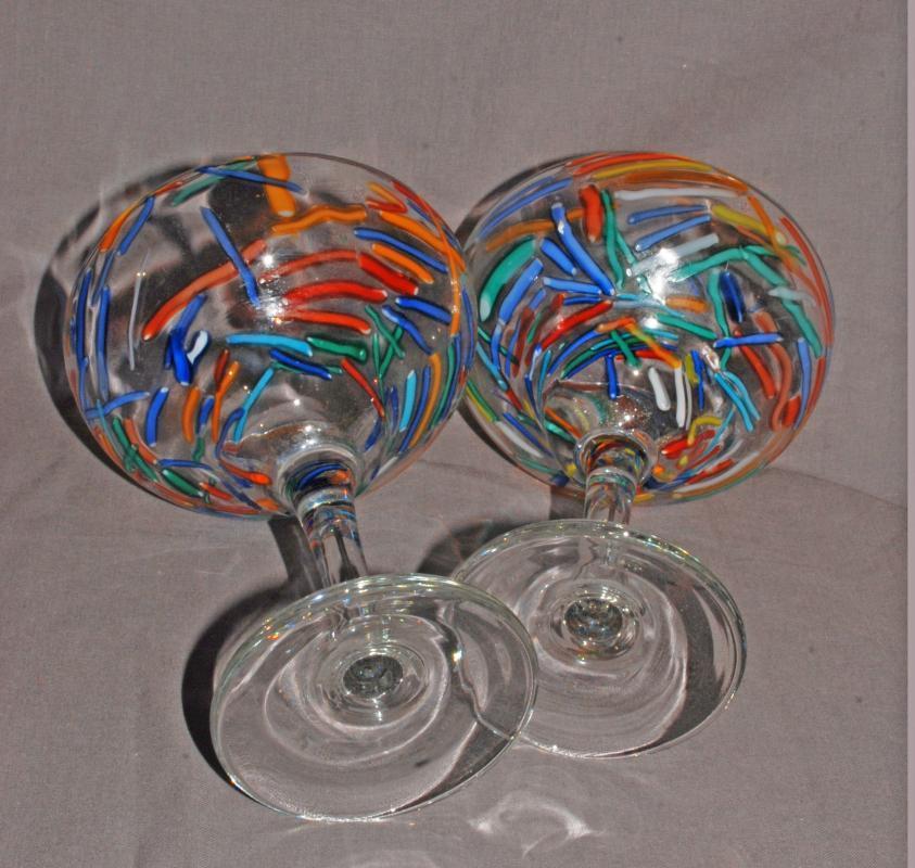 2 Confetti  Margarita Glasses Mexico Hand Blown Glass