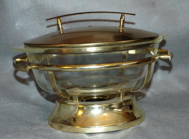 Fire -King 2 quart glass casserole brass chafing dish