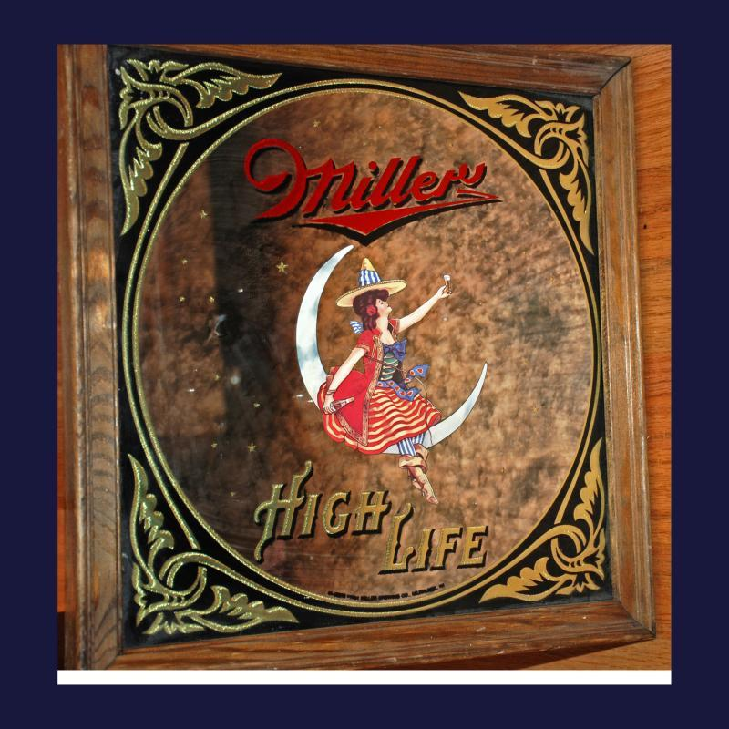 Rare 1984 Miller High Life Ornate Marbled Bar  Mirror Sign Girl on Moon - 14 x 14 inches