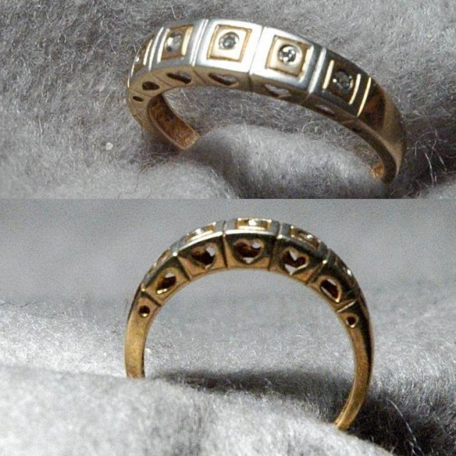 Modern 2 tone Gold Band Ring with 5 Diamonds