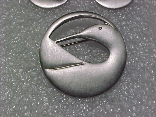Pewter Crane Earrings & Pin Set Signed, Dated