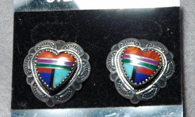 Sterling Silver Heart Gemstone Inlay Earrings