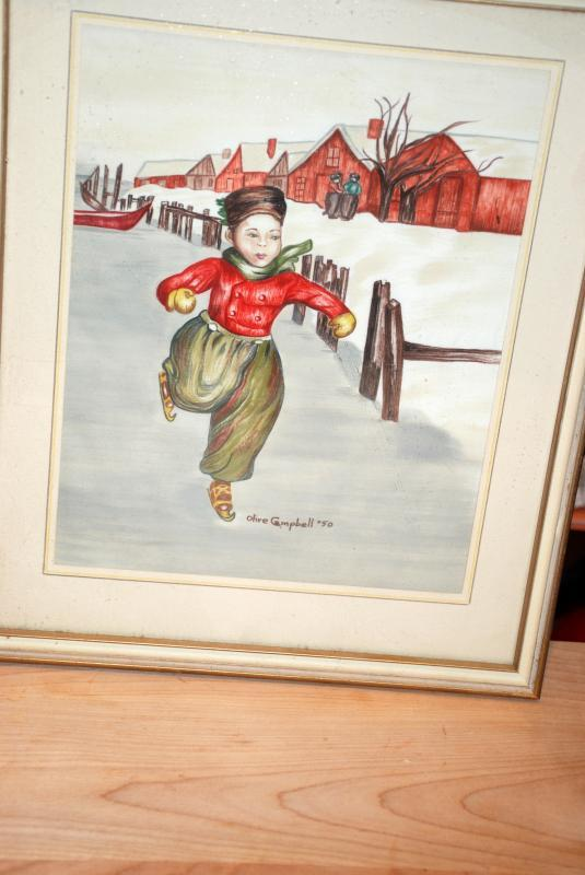 Dutch Boy & Girl Ice Skaters,  Painting on Silk Pair,  Signed, dated