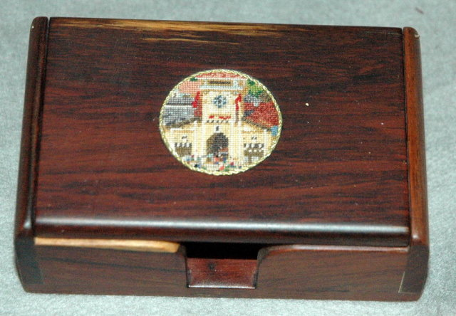 Hand Crafted Black Walnut Cigarette Box with Cross Stitch Decor**PRICE REDUCTION! **