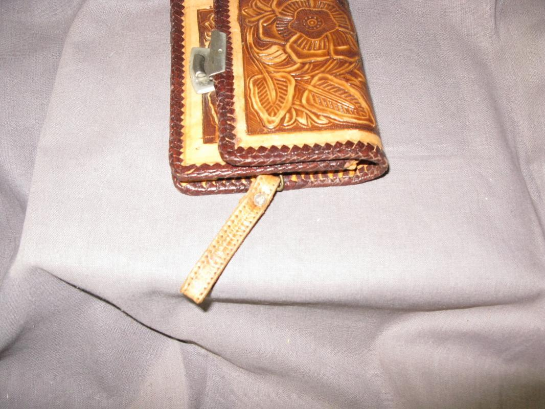 Tooled Leather Wallet with Mirror, ( Hecho en Mexico) From Mexico