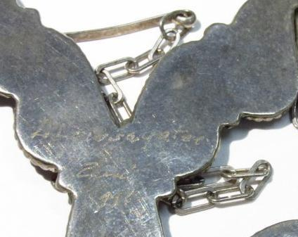Zuni Sterling Spiny Oyster Inlay Necklace by Dion Lowsayatee  Native American