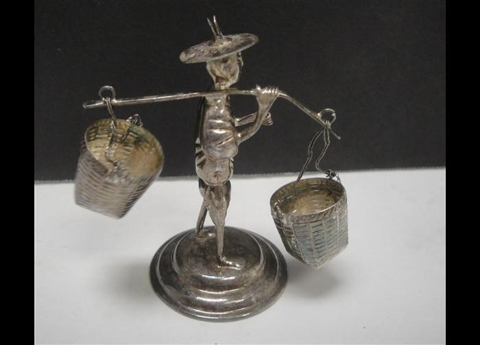 Chinese  Fishermen figures of sterling silver made in Hong Kong set of 3