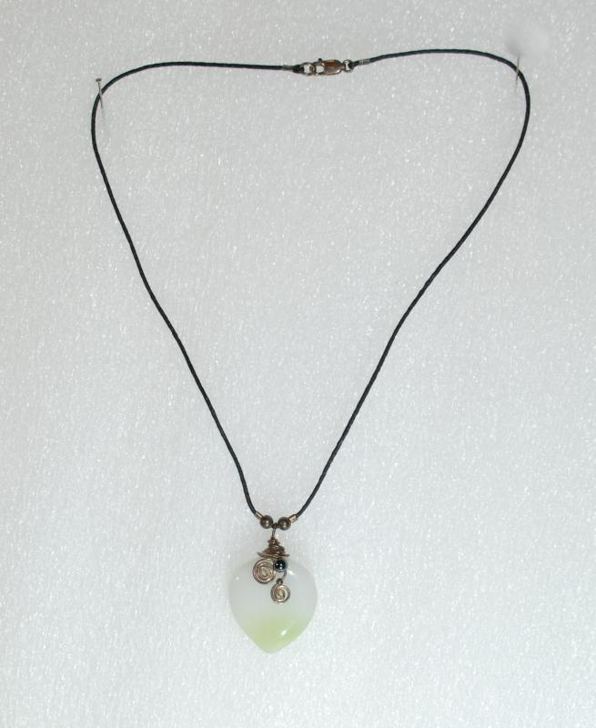 Jadeite Heart Necklace 2-tone green white Jadeite & Hematite, sterling wire wrap on leather rope