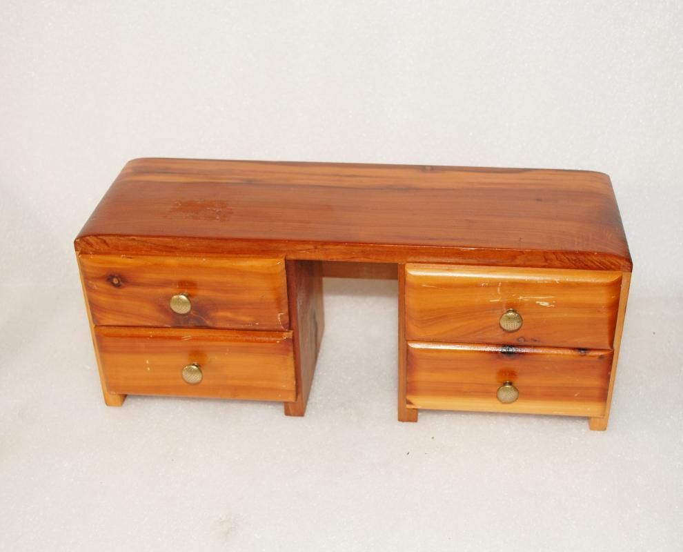 Cedar Desk Miniature Trinket or Jewelry Box with 4 drawers  Hand Made