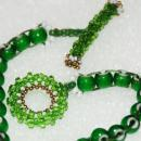 African Trade Bead Green White Heart Woven Beaded Bracelet with Antique Brass Button, Beaded Toggle, Handcrafted  Boho Venetian